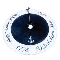 Vanguard Navy Christmas Tree Skirt: United States Navy 1775 Blue/Silver