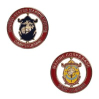 "Vanguard MARINE CORPS SPINNER COIN: 2"" MARINE CORPS BASE CAMP LEJEUNE"