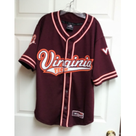 Colosseum Sport Virginia Tech Hokies Red Button Front Jersey Shirt Size M