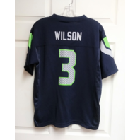 NFL Team Apparel Seattle Seahawks Blue Russell Wilson #3 Jersey Shirt Youth Sz L