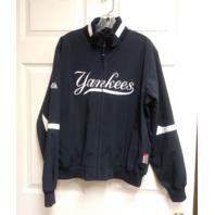 Majestic New York Yankees Navy Blue Therma Base Full Zip Jacket Size L MLB
