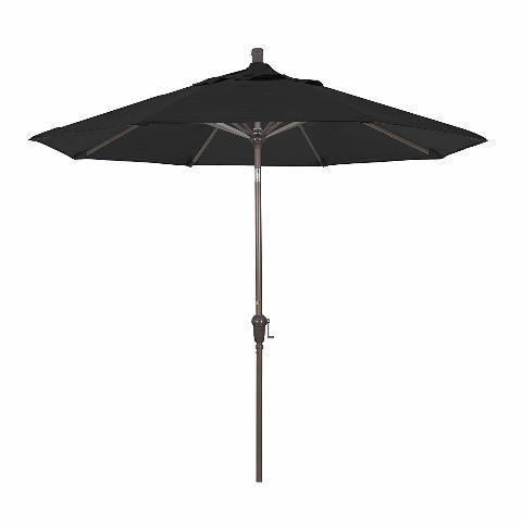 California Umbrella 9' Round Aluminum Market Umbrella, Black w/ Champagne Pole