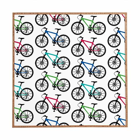 "Deny Designs Andi Bird, Ride A Bike White, Framed Wall Art, Large, 30"" x 30"""