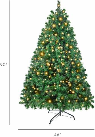 Ztotop 7.5' Spruce Hinged Christmas Tree w/ Seperate 700 Clear Lights NO ORIG BX