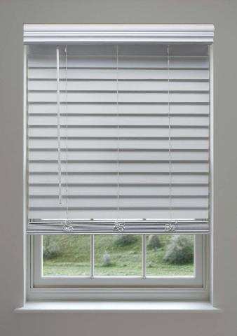 Linen Avenue Custom Cordless Faux Wood Blind, 26 3/4 W x 56 to 60 H White 4 ct