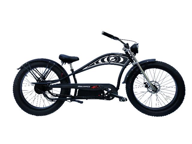 Micargi CYCLONE DELUXE-MBK/BK Chopper Style 500w Electric Bicyle, Matte Black