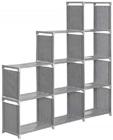 "Hosmat 9-Cube Children's Bookcase 30"" Adjustable Bookshelf Organizer, Grey BX DM"