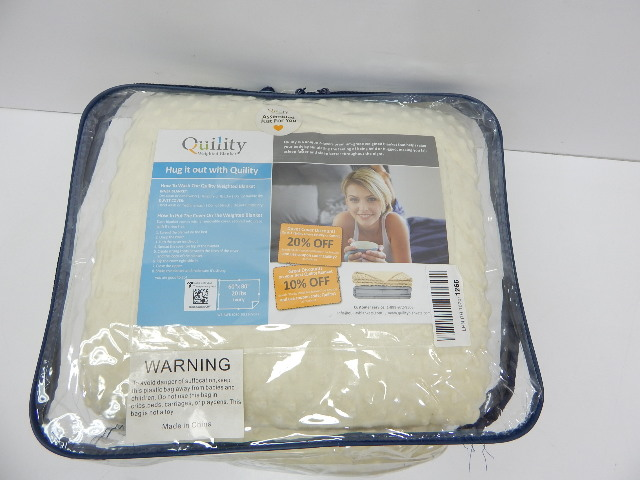 Quility 20lb 60x80 Adult Weighted Blanket & Removable Cover, Ivory DISTRESSED PK