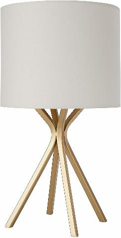 """Rivet ALT17032519 18""""Gold Bedside Table Desk Lamp, Linen Shade MINOR SHADE BENDS"""