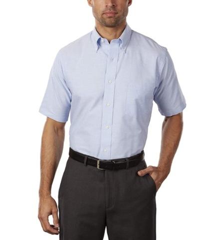 """Van Heusen Men's Short-Sleeve Oxford Dress Shirt, Blue, 17.5"""""""