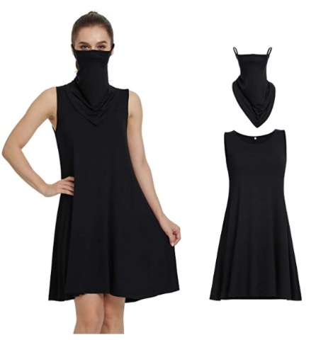 Vintatre Women's Sleeveless Casual Swing Dress with Ear Loops Bandana, Black, M