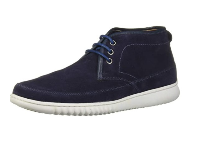 Driver Club USA Men's Leather Ankle Chukka Boot with Sneaker Sole, Navy Suede,12
