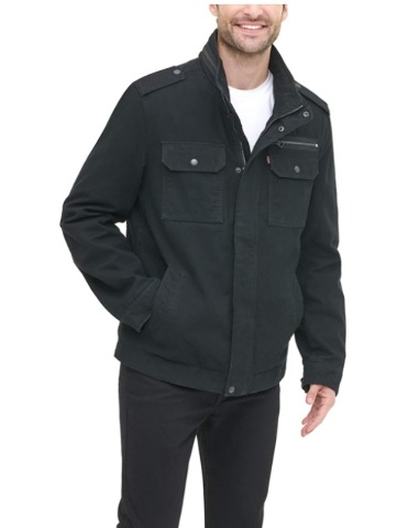 Levi's Men's Washed Cotton Two Pocket Military Jacket. Black, XL