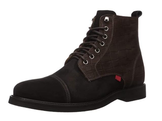 Marc Joseph New York Men's Leather Luxury Laceup Lug Boot, Black/ Brown, 9