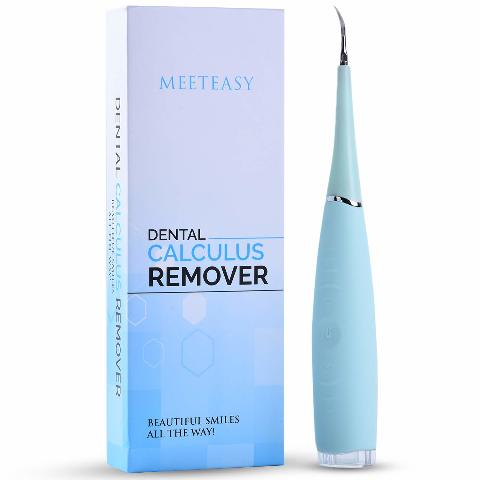 Meeteasy Electric Sonic Dental Calculus Plaque Remover Tool Kit, Sky Blue