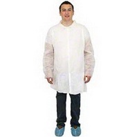 Safety Zone DLWH-MD-NP Lab Coat with Elastic Wrist, M (Pack of 30) BOX DAMAGE