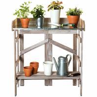 VYTAL VYT-FPTGY Folding Potting Bench Event Table Gray Wash SIDE PANEL BROKEN