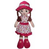 "Calplush 9212-24 24"" Brunette Hair Doll with Hot Pink Dress Animal Plush"