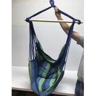 Sorbus Hanging Rope Hammock Chair Swing Seat. Green/Blue BOX DAMAGE