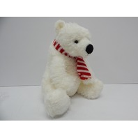 "Aurora World 18"" Iceberg Polar Bear with Candy Cane Scarf, White, Red"