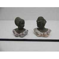 Esschert Design AC80S Aged Ceramic Bust with Garden Stakes, Set of 2