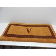 "Nedia Home O2074V 24""x57"" Coco Door Mat Brown Single Picture Frame Monogrammed V"