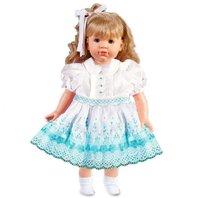 "Rosalina Morgan Blonde 18"" Doll with White Aqua Floral Smocked Doll Dress"