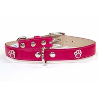 "Bluemax Genuine Leather Vintage Cow Dog Collar with Paw Stud, 1x18"", Fushia"
