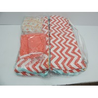 Tushies and Tantrums Boutique Baby Bed Crib Set, Aqua and Coral