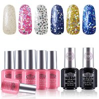 Perfect Summer 035 6pc Gel Glitter Nail Polish Manicure Starter Kit, 8ml BOX DMG