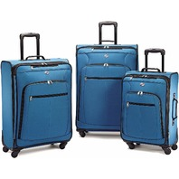 American Tourister Luggage AT Pop 3 pc Spinner Set, Moroccan Blue MINOR BEND