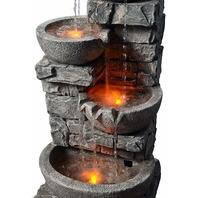 Peaktop 201601PT Stacked Stone 3 Tier Bowls Garden Waterfall Fountain SHIP DMG