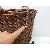 "Skalny 83195 Round Wicker Basket Planter in Black Metal Stand - 16""Dia x 22""H"