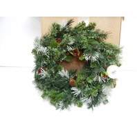 National Tree WP1-300-24W 24 Inch Wintry Pine Wreath with Clear Lights