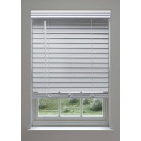 Linen Avenue Custom Cordless Faux Wood Blind, 26 3/4 W x 56 to 60 H White 3 ct