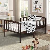 Merax Harper & Bright Designs WF038856PAA Wood Toddler Bed, Espresso