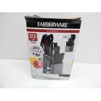 Farberware 5169370 30pc Spin-and-Store Knife Kitchen Tool Set, Black BOX DAMAGE