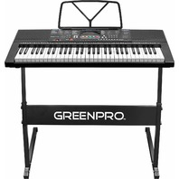 GreenPro GRP30022 61 Key Electronic Piano Keyboard LED Display with Adj Stand