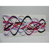 Digital art PT3044-40-20 Purple and Pink Waves - Contemporary Wall Art 40x20