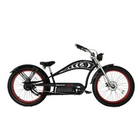 Micargi CYCLONE DELUXE-MBK/RD Chopper Style 500w Electric Bicyle, Black/Red