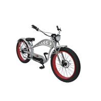 Micargi CYCLONE DELUXE-MSL/RD Chopper Style 500w Electric Bicyle, Silver/Red