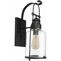 Motent Industrial Retro Iron Glass Vintage Wall Lamp Lantern, Black Metal BOX DM