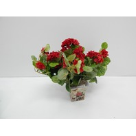 "Nearly Natural 6832-S2 11"" Geranium Flowering Silk Plant with Floral Planter"