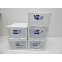 Sterilite 20518006 6 Quart/5.7 Liter Stacking Storage Drawer, White, 5 Count