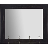 Everly Hart Collection 18FP1413E Rustic Black Entry Wall Mirror w/ Hooks BOX DMG