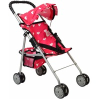 The New York Doll Collection Foldable Doll Stroller, Heart Design, Pink NO BOX