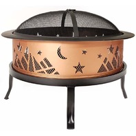 "Catalina Creations AD366 26"" Round Copper Colored Accented Cauldron Fire Pit"