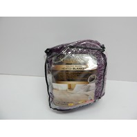 Sunbeam Slumber Rest Velvet Plush Queen Heated Blanket, Purple Winter Bloom