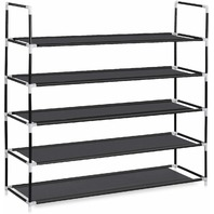 Herron Shoe Rack 5 Tier Shoe Organizer 25 Pairs Space Saving Tower Black BOX DMG