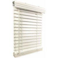 "US Window And Floor 2"" Faux Wood 42.5"" x 64"" Inside Mount Cordless Blinds, White"